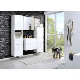 Badmöbel Set COMO-03, 4-teilig, Hochglanz weiß, 60cm Waschtisch