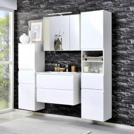 Badmöbel Set COMO-03, 4-teilig Hochglanz weiß, 80cm Waschtisch