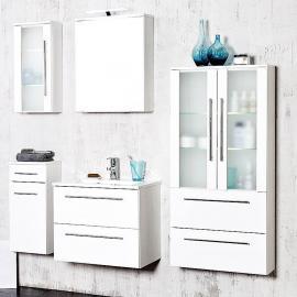 Badmöbel Set MILANO-03 Hochglanz weiß, LED, B=190cm, 5-teilig