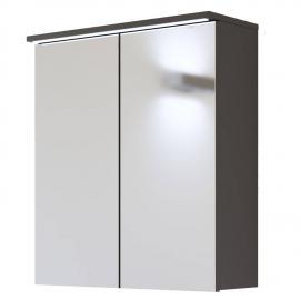 Badmöbel Spiegelschrank 60 cm mit LED-Beleuchtung LAJAS-56, Graphit, B x H x T ca. 60 x 68 x 20cm