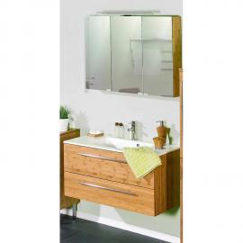 Badmöbel Waschplatz Set Bambus massiv lackiert HANOI-04 Waschtisch mit Mineralgussbecken & LED-Spiegelschrank, B x H x T ca. 90,4 x 200 x 48,1 cm