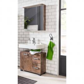 Badmöbel Waschplatz Set LIMA-04 Panamaeiche, 60cm Spiegelschrank, BxHxT: ca. 65,1x200x32cm