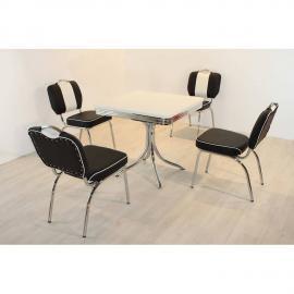 Bistrogruppe Essgruppe mit 4 Kunstlederstühlen schwarz/weiß DENVER-31