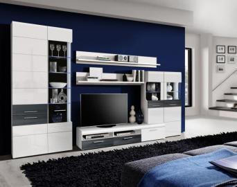 Wohnwand Cortino inkl. blauer Glasbodenbeleuchtung Weiß/Schwarzeiche