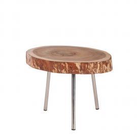 Couchtisch ROMANTEAKA-14 55x55x43cm natur, Gestell silbern Platte recyceltes Teak, Gestell Metall