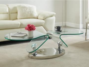 Couchtisch mit drehbaren Tischplatten Sicherheitsglas & Metall EZEKIEL