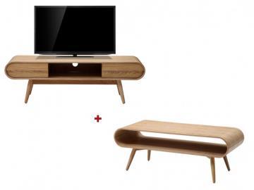 Sparset VILDA: Couchtisch + TV-Möbel - Eschefarben