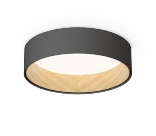 Duo LED Deckenleuchte / Metall & Holz - Ø 48 cm - Vibia - Holz natur,Graphit