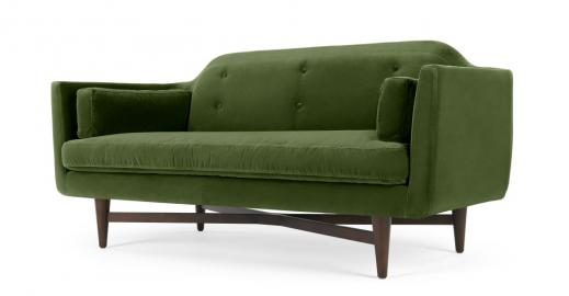 Imani 2-Sitzer Sofa, Samt in Grasgruen - MADE.com
