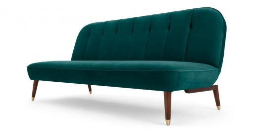 Margot Schlafsofa, Samt in Meerblau - MADE.com