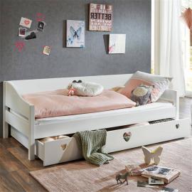 Einzelbett Jugenbett 90x200cm mit Bettschublade MDF weiß lackiert LARVIK-13