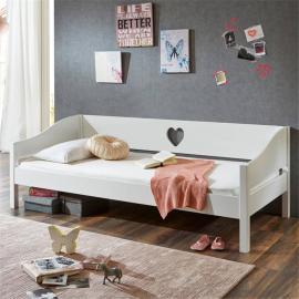 Einzelbett Jugendbett 90x200 MDF weiß lackiert LARVIK-13