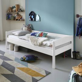 Einzelbett VIBORG-13 90x200 cm Buche massiv weiß lackiert