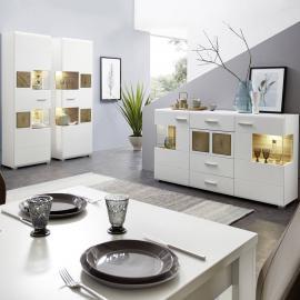 Esszimmerset 2 Standvitrinen und Sideboard FARO-36 matt weiß mit Hirnholz inkl. LED-Beleuchtung, B x H x T ca.: 330 x 205 x 42 cm