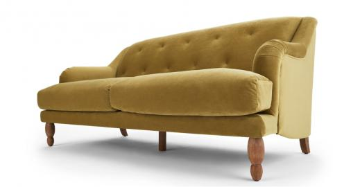 Ariana 3-Sitzer Sofa, Samt in Ocker - MADE.com