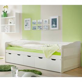 Funktionsbett Jugendbett Sofabett 90x200cm mit 5 Schubkästen CATANIA-22 massiv weiß lackiert B96 x H69/63 x L204 cm