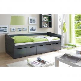 Funktionsbett mit 5 Schubkästen Jugendbett 90x200cm CATANIA-22 massiv grau lackiert B96 x H69/63 x L204 cm
