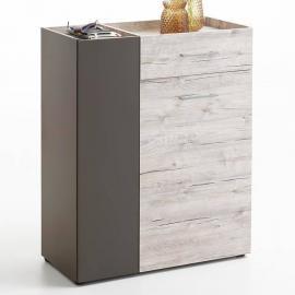 Garderobenkommode Schuhschrank NORWICH-10 Sandeiche Nb./Lava, B x H x T ca. 80 x 100 x 38 cm
