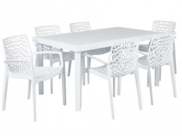 Gartenmöbel Essgruppe DIADEM: Tisch + 6 Sessel -Weiß