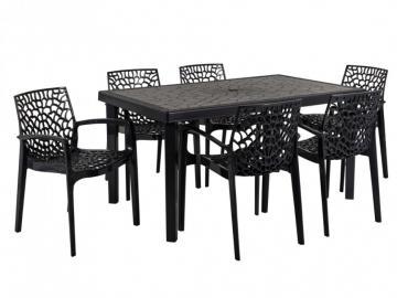 Gartenmöbel Essgruppe DIADEM: Tisch + 6 Sessel - Anthrazit