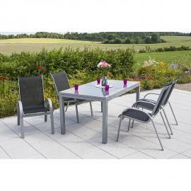 Garten Sitzgruppe 5-teilig, Gartentisch 140cm bis 200cm 4x Stühle schwarz TOLEDO-29