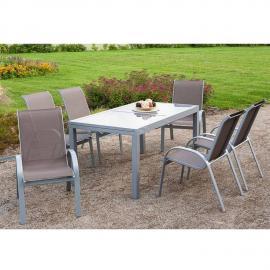 Garten Sitzgruppe 7-teilig, Gartentisch 140cm bis 200cm 6x Stühle taupe TOLEDO-29