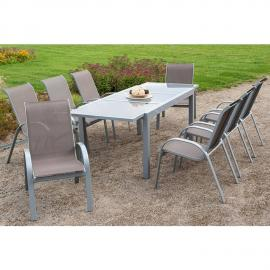 Garten Sitzgruppe 9-teilig, Gartentisch 180cm bis 240cm 8x Stühle taupe TOLEDO-29