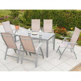 Gartenmöbel Set 6x Garten Klappsessel 1x Gartentisch 150 cm champagner PALMA-29