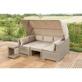 Gartenmöbel Set Illora-29 Stahl, Kunststoffgeflecht javabraun, BxHxT: ca. 152x95/159x220cm