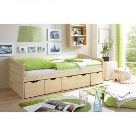 Jugendbett mit 5 Schubkästen Sofabett 90x200cm massiv natur lackiert CATANIA-22 B96 x H69/63 x L204 cm