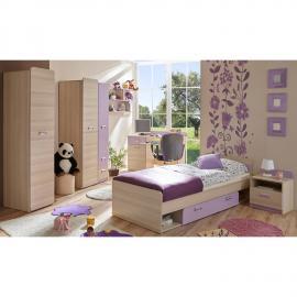Jugendzimmer Komplettset in Sonoma Eiche mit violett LANCY-22 Bett inkl. Lattenrost und 80x190cm Matratze
