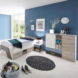 Jugendzimmer Set mit Kommode 3-teilig LEEDS-10 in Sandeiche Nb. mit weiß, Lava und Denim Blau