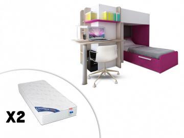 Set Hochbett mit Schreibtisch SAMUEL + Bettboden + 2 Matratzen ZEUS - 2x90x190 - Rosa