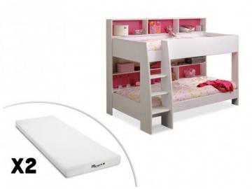 PARISOT Set Etagenbett TAM-TAM + Lattenrost + 2 Matratzen - 2x90x200cm - Rosa