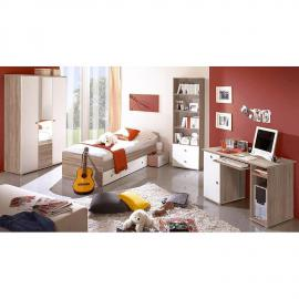 Kinderzimmer Jugendzimmer 4-teilig in Sonoma Eiche, weiß lackiert MIRANDA-22 mit 115cm Kleiderschrank mit Spiegel und Schreibtisch