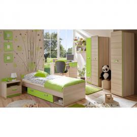 Kinderzimmer Jugendzimmer Set in Sonoma Eiche mit grün LANCY-22 Bett inkl. Lattenrost und 80x190cm Matratze