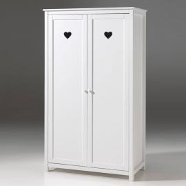 Kleiderschrank 2-trg. ANNECY-12, MDF weiß lackiert, B x H x T ca. 110 x 190,5 x 57 cm