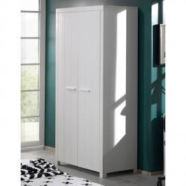Kleiderschrank CANNES-12 mit 2 Türen, weiß lackiert, B x H x T ca. 99,5 x 205,5 x 57,5 cm