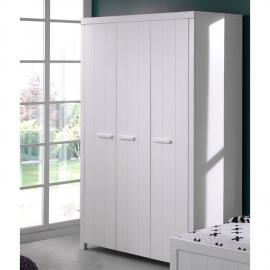 Kleiderschrank CANNES-12 mit 3 Türen, weiß lackiert, B x H x T ca. 144 x 205,5 x 57,5 cm