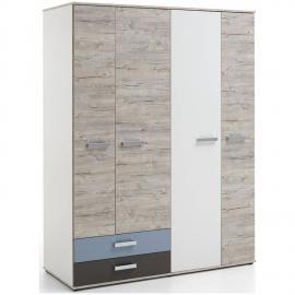 Kleiderschrank LEEDS-10 mit 4 Türen und 2 Schubkästen, Sandeiche Nb./weiß/Lava/Denim, B x H x T ca. 149,5 x 193 x 59,7 cm