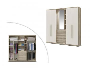 Kleiderschrank ISAK mit Spiegel - 4 Türen