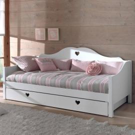 Kojenbett ANNECY-12, MDF weiß lackiert, Einzelbett mit Bettschublade, 90 x200 cm
