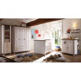 Komplett Landhaus Babyzimmer Set 5-tlg CHIASSO-22 Massiv Lava Weiß mit 3-trg Kleiderschrank, Anstellregal, Wandregal, Wickelkommode & Babybett