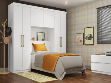 Bettbrücke mit Kleiderschrank und Stauraum ANTERO - 6 Türen