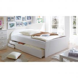 Landhaus Doppelbett mit Schubkästen 140x200cm GENF-22 massiv weiß lackiert B149 x H70/50 x L206 cm