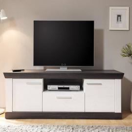 Landhaus TV Lowboard Pinie weiß Nb. mit Wenge SALARA-61 B/H/T ca. 158x51x45cm