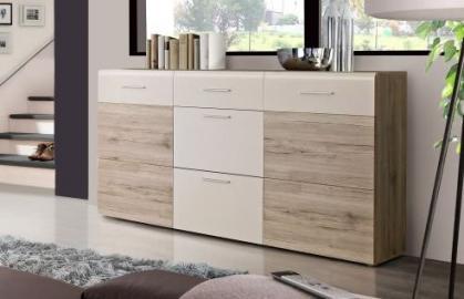 Sideboard Nabou Sandeiche/Weiß
