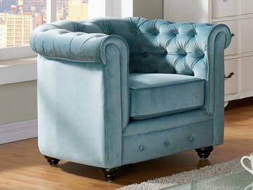 Chesterfield Sessel Samt ANNA - Blau