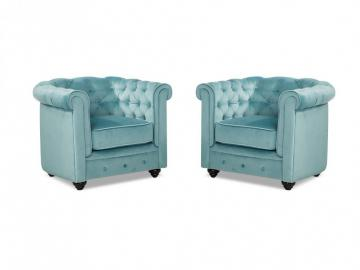 Sessel Samt 2er-Set Chesterfield ANNA -  Blau