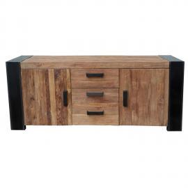 Sideboard CROCO-14 192x45x85cm Antikfinish Teak mit Metall